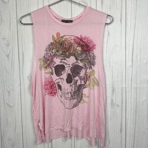 DONT ASK WHY PINK SKULL FLORAL O/S